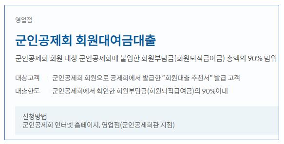 신한은행 군인공제회 대출